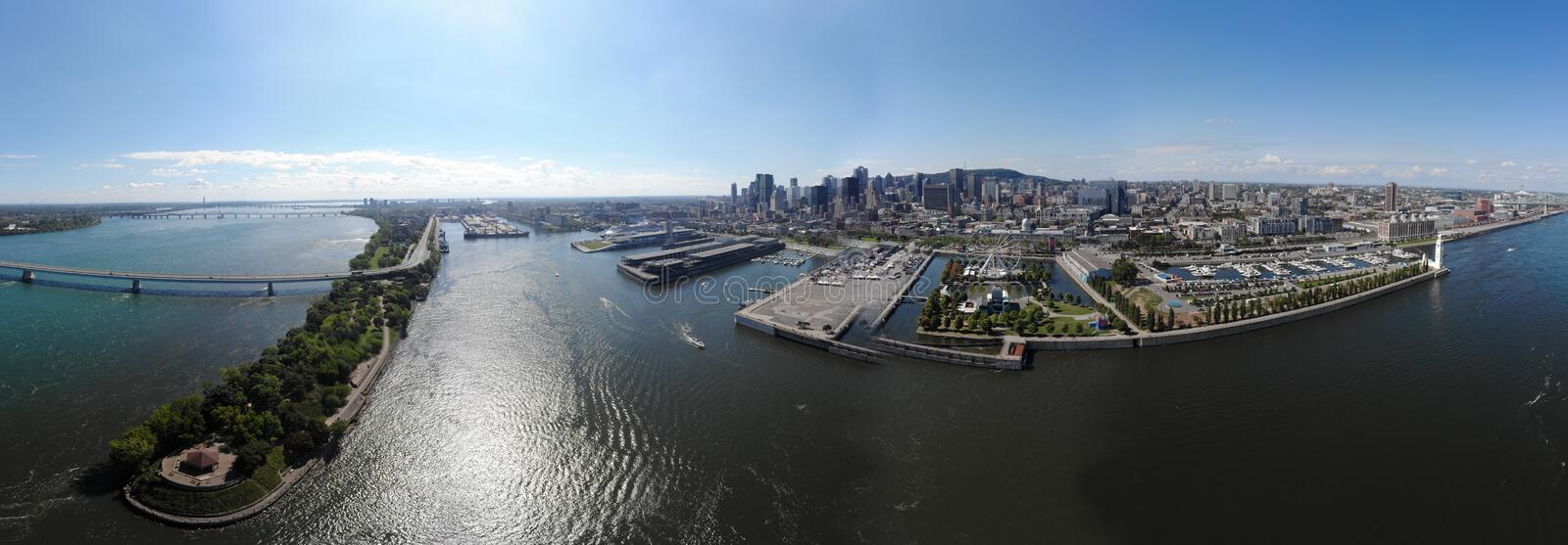 Aerial view 360 panorama Montreal old port with urban architectures. stock image