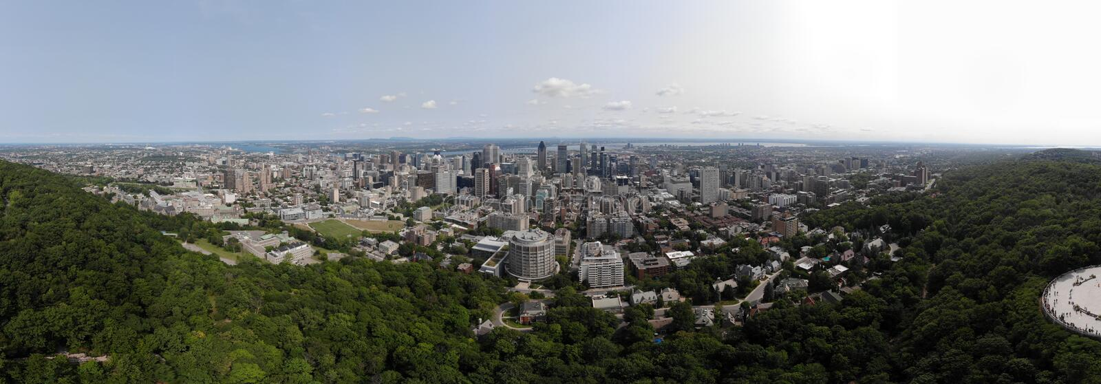 Aerial view 360 panorama Montreal in summer park Mount Royal - fly bird level royalty free stock images