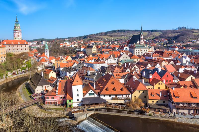 Aerial view panorama of the old Town of Cesky Krumlov in South Bohemia, Czech Republic with blue sky. UNESCO World heritage Site a royalty free stock photos