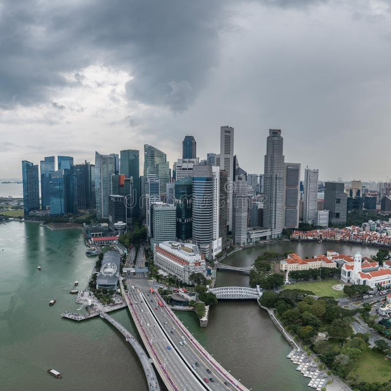 Aerial View Of Singapore During Cloudy Day Editorial Stock