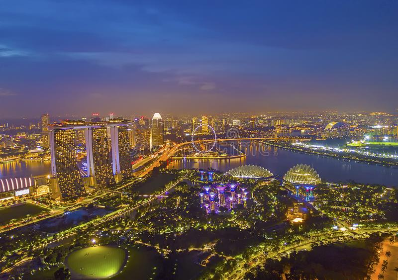 Aerial view panorama of Singapore skyscrapers with city skyline stock photography