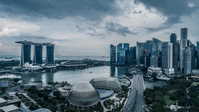 Aerial view panorama of Singapore during cloudy day stock images
