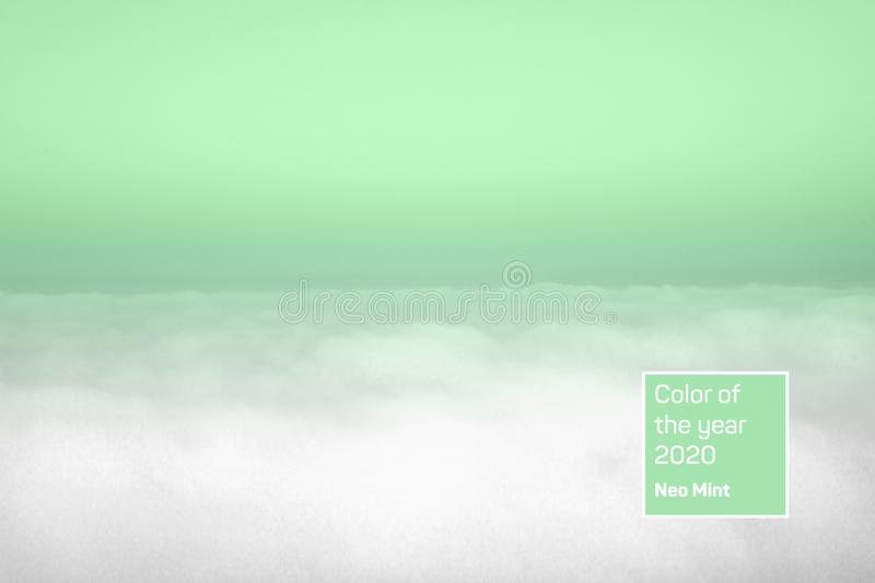 Aerial view of panoramic horizontal clear sky above clouds. Trendy mint toned surreal image. Year color concept, scenery, simple, copy, space, unreal, idyllic royalty free stock photo