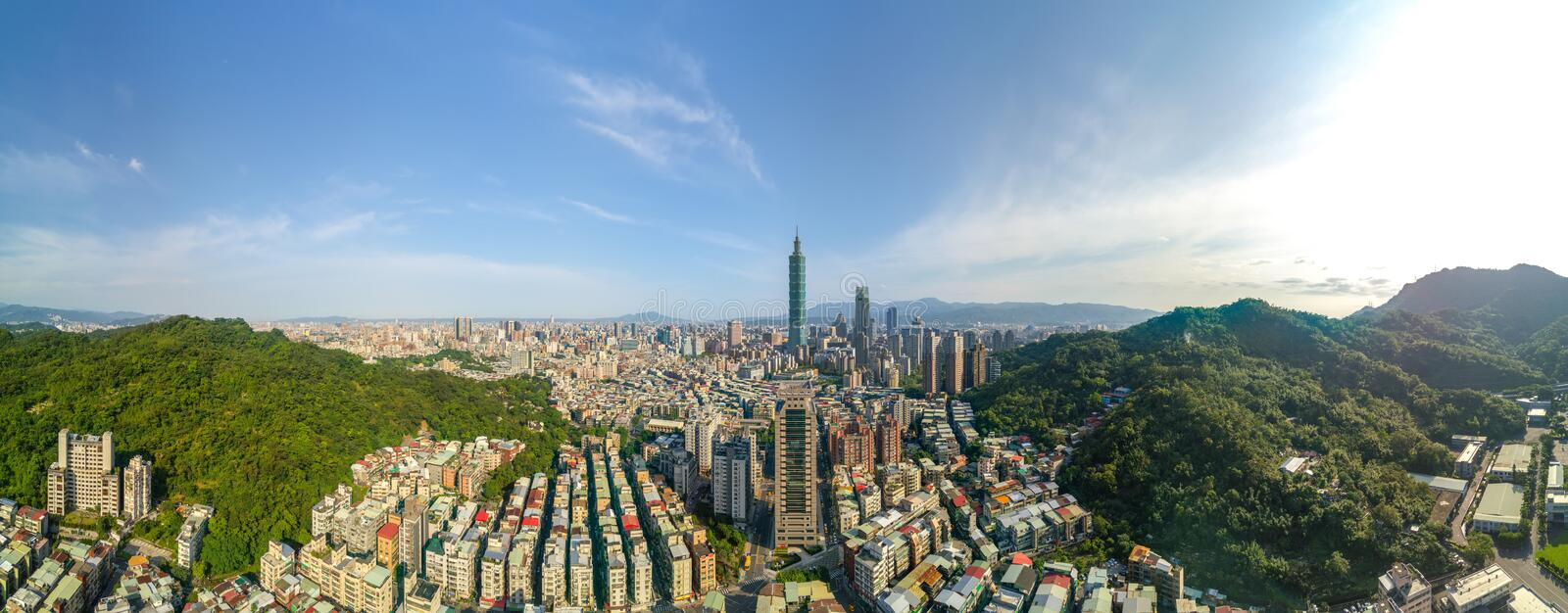 Aerial view of Panoramic photo of city scape stock photography