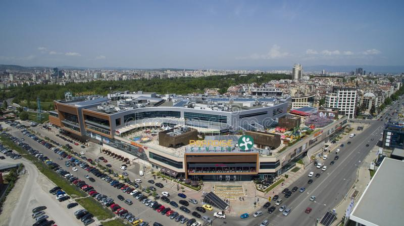 Aerial view of Paradise Shopping Center, May 1 2018, Sofia, Bulgaria. Aerial view of Paradise Shopping Center in Lozenets district, May 1 2018, Sofia, Bulgaria stock photography