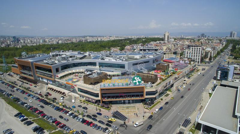 Aerial view of Paradise Shopping Center, May 1 2018, Sofia, Bulgaria. Aerial view of Paradise Shopping Center in Lozenets district, May 1 2018, Sofia, Bulgaria stock photos