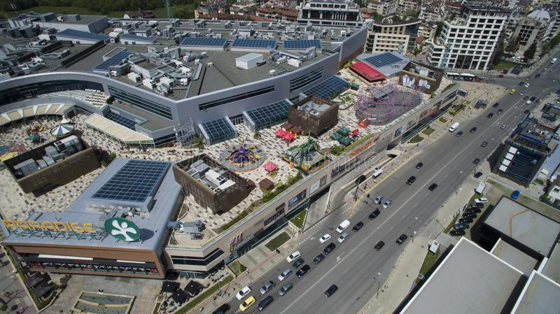 Aerial view of Paradise Shopping Center, May 1 2018, Sofia, Bulgaria. Aerial view of Paradise Shopping Center in Lozenets district, May 1 2018, Sofia, Bulgaria royalty free stock images