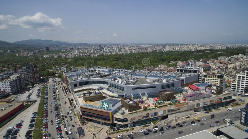 Aerial view of Paradise Shopping Center, May 1 2018, Sofia, Bulgaria. Aerial view of Paradise Shopping Center in Lozenets district, May 1 2018, Sofia, Bulgaria royalty free stock photography