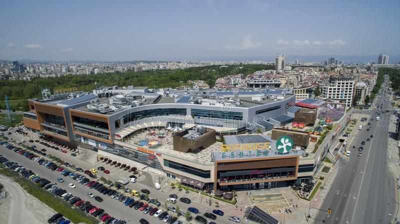 Aerial view of Paradise Shopping Center, May 1 2018, Sofia, Bulgaria. Aerial view of Paradise Shopping Center in Lozenets district, May 1 2018, Sofia, Bulgaria stock photo