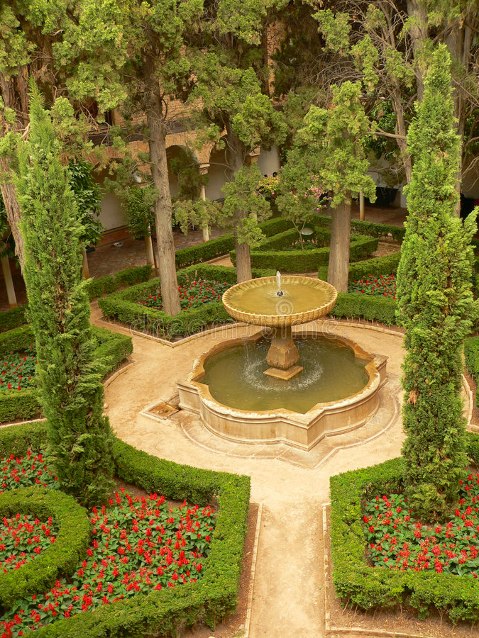 Aerial view of parc in Alhambra royalty free stock photography