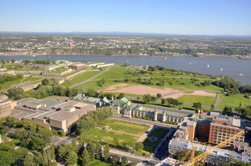 Parc des Champs-de-Bataille, Old Quebec City, Canada. Aerial view of Parc des Champs-de-Bataille (Champs-de-Bataille National Battlefields Park) in Old Quebec stock photography
