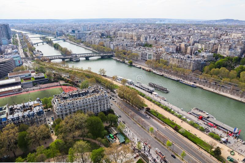 Aerial view of Paris city and Seine river from Eiffel Tower. France. April 2019 stock images