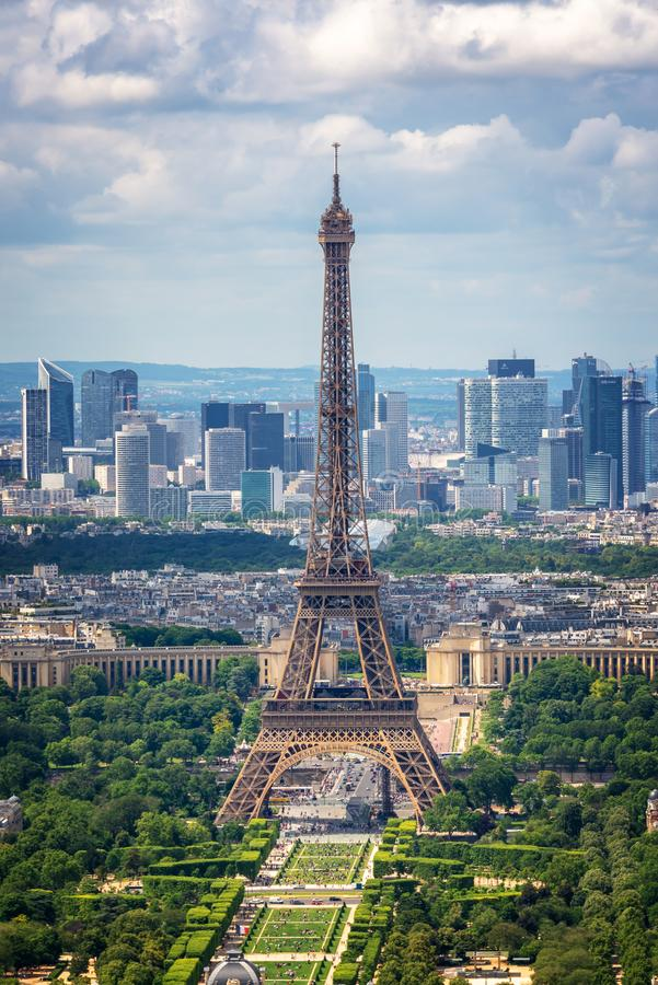 Aerial view of Paris with the Eiffel tower and la Defense business district skyline. France and Europe city travel concept royalty free stock photography