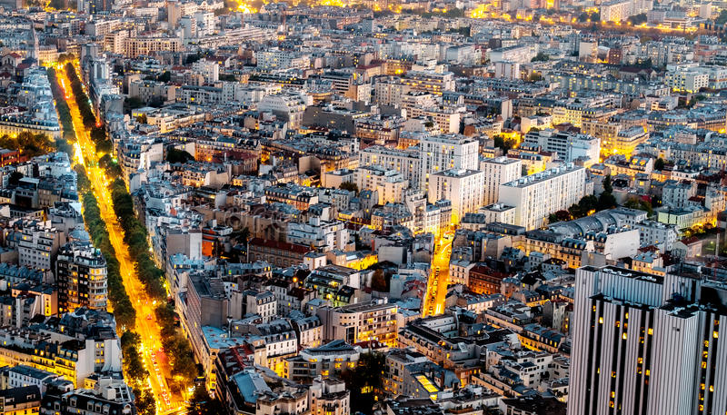 Aerial view of Paris, France at night. stock photos