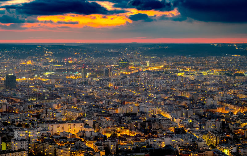 Aerial view of Paris, France at night. stock images