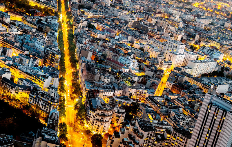 Aerial view of Paris, France at night. royalty free stock photo