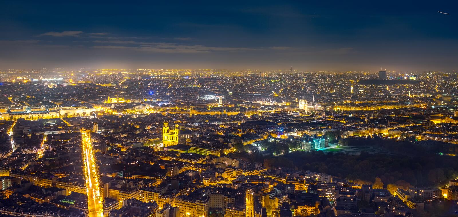 Aerial view of Paris, France at night. stock photography