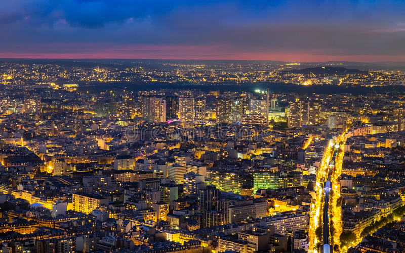 Aerial view of Paris, France at night. royalty free stock photos