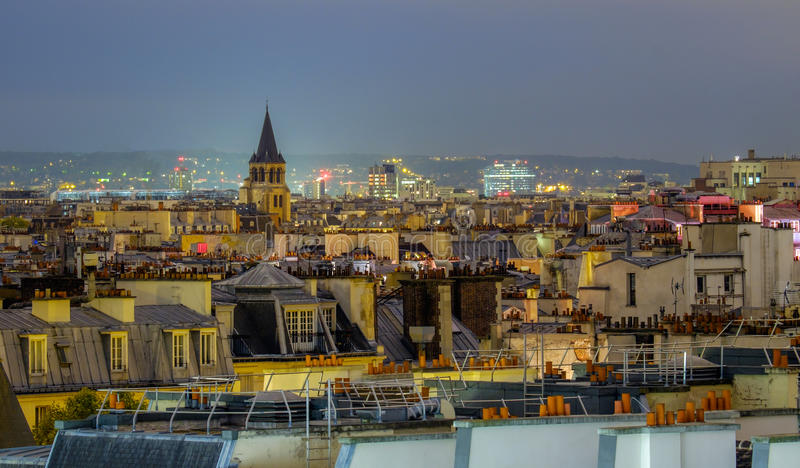 Aerial view of Paris, France at night. royalty free stock images
