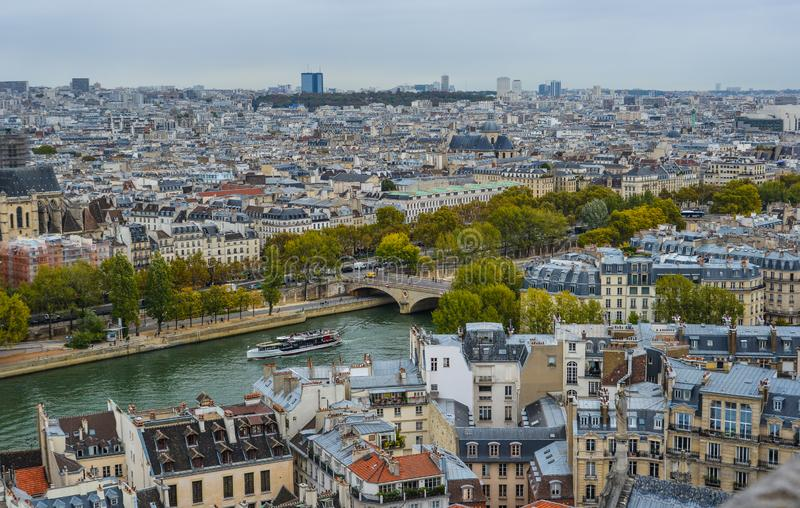 Aerial view of Paris, France. Paris, France - October 2, 2018. Aerial view of Paris with its typical buildings. Paris is a global center for art, fashion royalty free stock photo