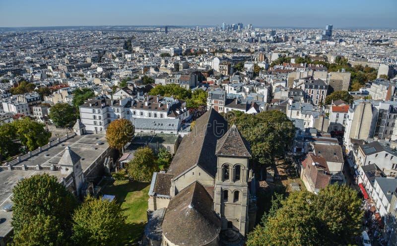 Aerial view of Paris, France. Paris, France - October 2, 2018. Aerial view of Paris with its typical buildings. Paris is a global center for art, fashion stock photo
