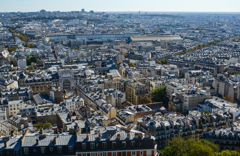 Aerial view of Paris, France. Paris, France - October 2, 2018. Aerial view of Paris with its typical buildings. Paris is a global center for art, fashion royalty free stock images