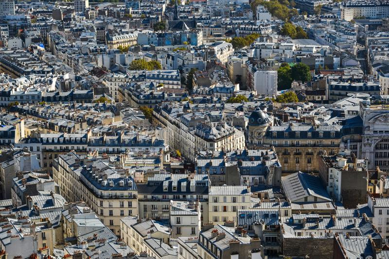 Aerial view of Paris, France. Paris, France - October 2, 2018. Aerial view of Paris with its typical buildings. Paris is a global center for art, fashion royalty free stock photos