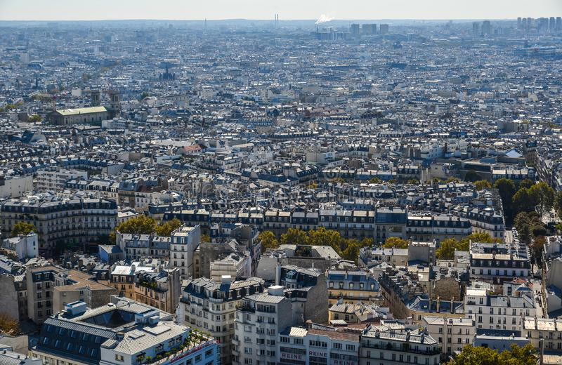 Aerial view of Paris, France. Paris, France - October 2, 2018. Aerial view of Paris with its typical buildings. Paris is a global center for art, fashion royalty free stock photography