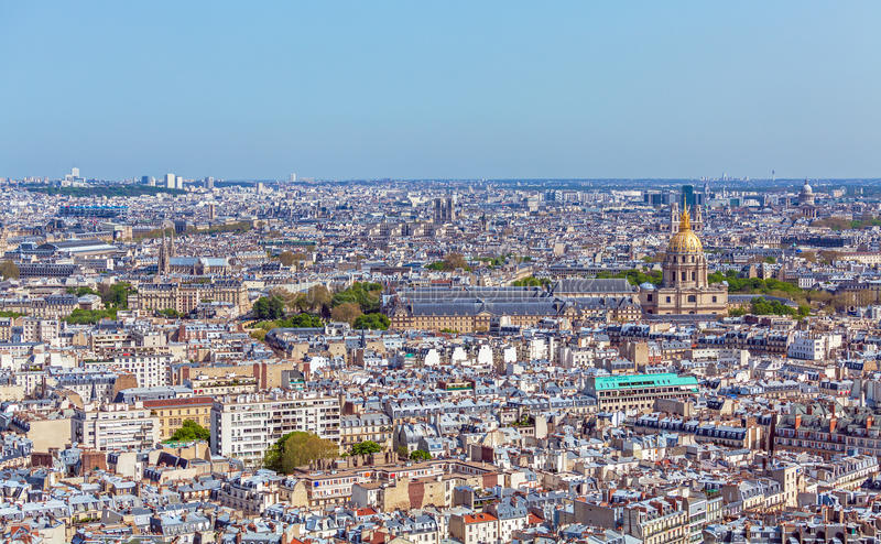 Aerial View of Paris Skyline from Eiffel Tower stock image
