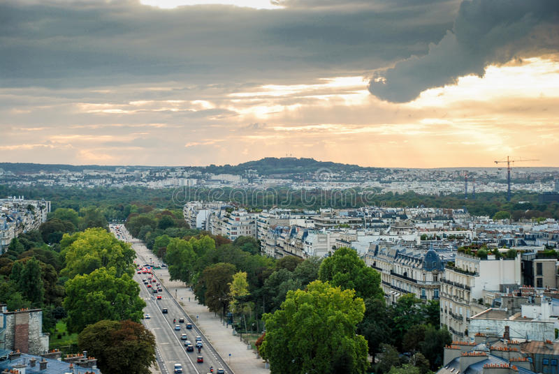 Aerial view of Paris. Aerial view at streets from Triumphal Arch of the Star in Paris, France royalty free stock photo