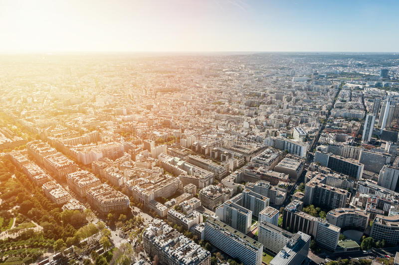 Aerial view of Paris at sunset. France stock photo