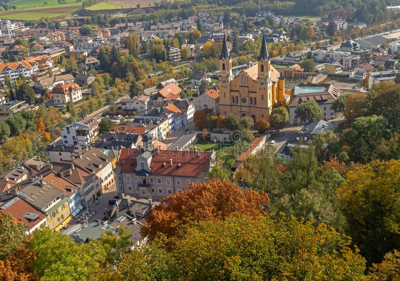 View of parish church in Bruneck. Aerial view of parish church in Bruneck, South Tyrol royalty free stock image