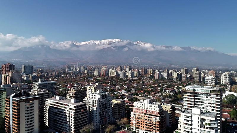 Aerial view of a park and city buildings in Chile. Aerial view of a park and city buildings in Santiago, Chile royalty free stock image