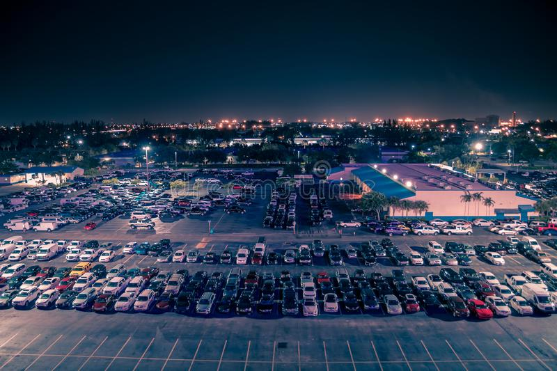 Aerial view on parking lot of Manheim Auto auction at night time. Auto auction for buying and selling used vehicles. royalty free stock photos