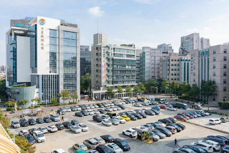Aerial view of a parking lot in Neihu District area royalty free stock photo
