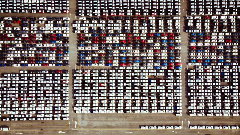 Aerial view of a parking lot new cars lined up in the port for i stock image