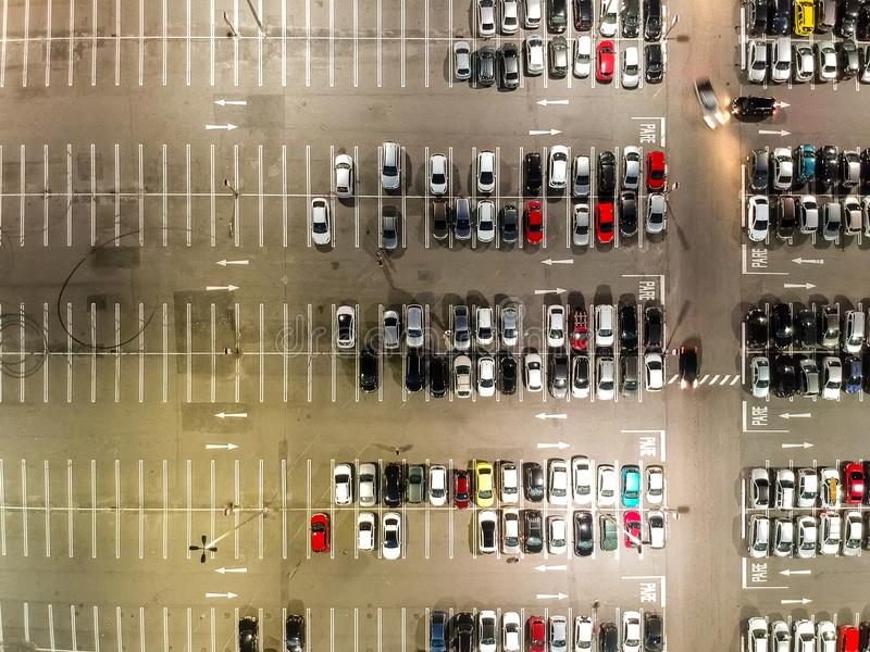 Aerial view of a parking lot in shopping mall in Rio de Janeiro, Brazil royalty free stock photography
