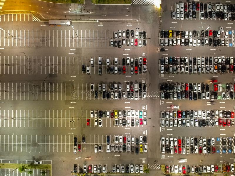 Aerial view of a parking lot in shopping mall in Rio de Janeiro, Brazil.  royalty free stock images