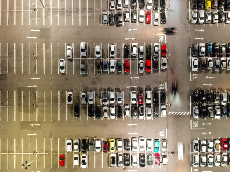 Aerial view of a parking lot in shopping mall in Rio de Janeiro, Brazil.  royalty free stock photography