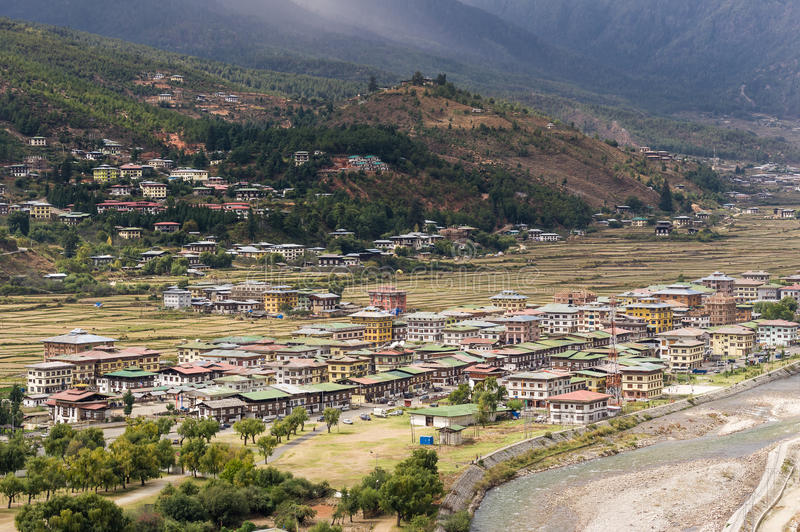 Aerial view of Paro city landscape royalty free stock image