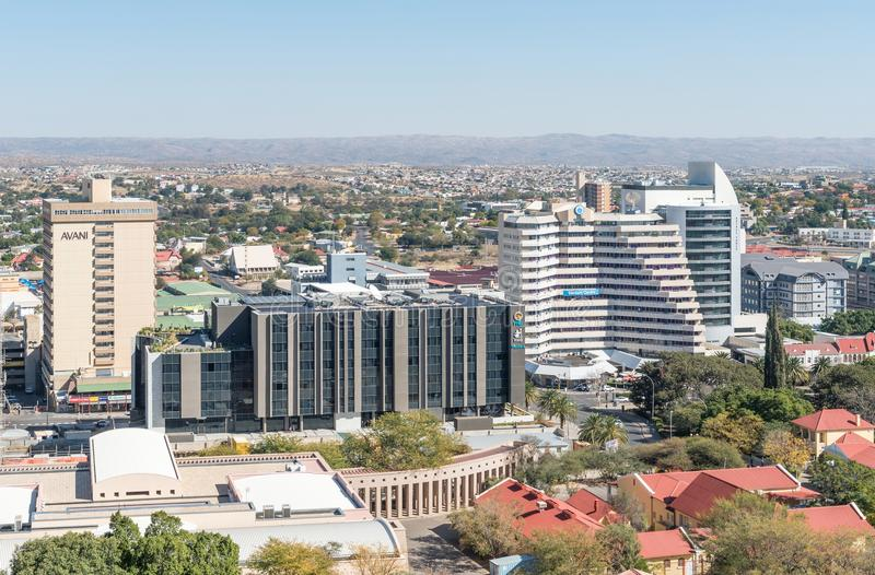 Aerial view of part of central business district in Windhoek. WINDHOEK, NAMIBIA - JUNE 17, 2017: An aerial view of part of the central business district in royalty free stock images