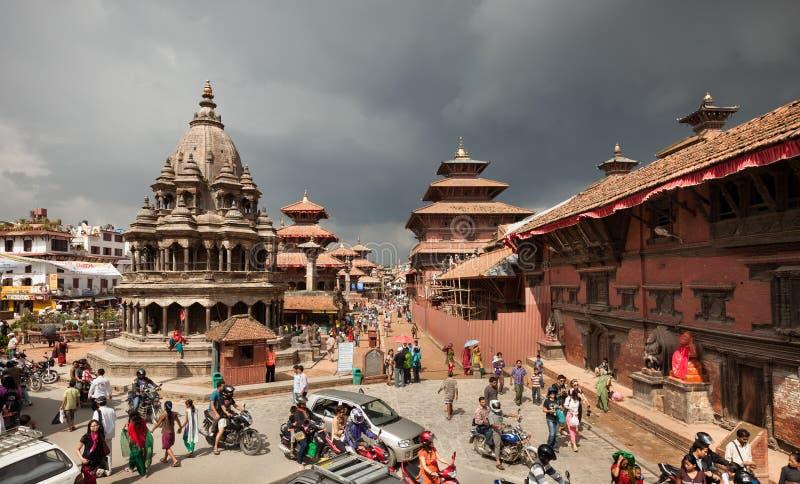 Aerial view of Patan Durbar Square in Kathmandu of Nepal royalty free stock photo
