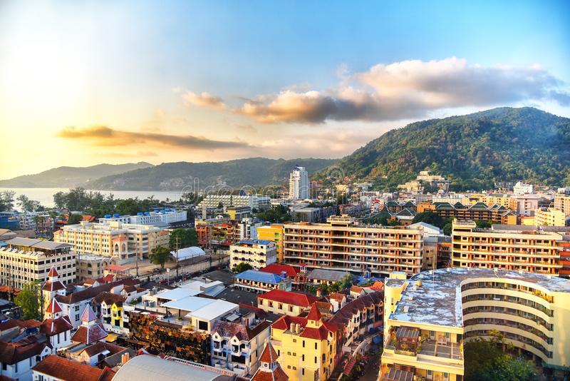 Aerial view of Patong beach, Phuket island and sea, urban city with blue sky. Andaman sea, Thailand stock images