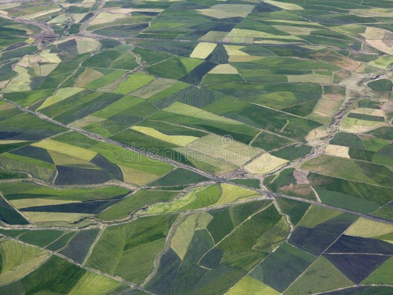 Aerial view of farmland in Ethiopia royalty free stock photo