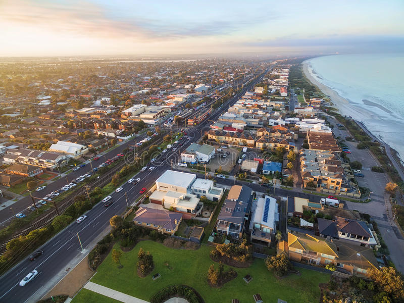Aerial view of Patterson Lakes and Nepean Highway. Aerial view of Patterson Lakes suburb and Nepean Highway at sunrise. Melbourne, Victoria, Australia stock photos