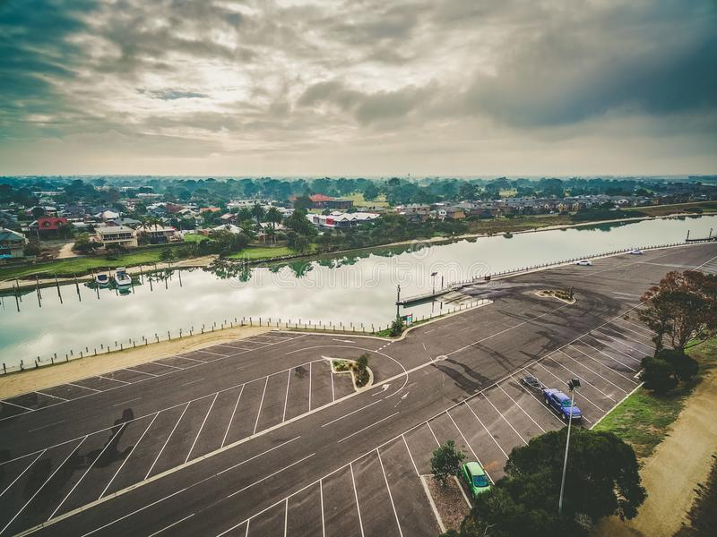 Aerial view of Patterson river and suburbia. Aerial view of Patterson river and suburbia on overcast day. Melbourne, Australia royalty free stock photos