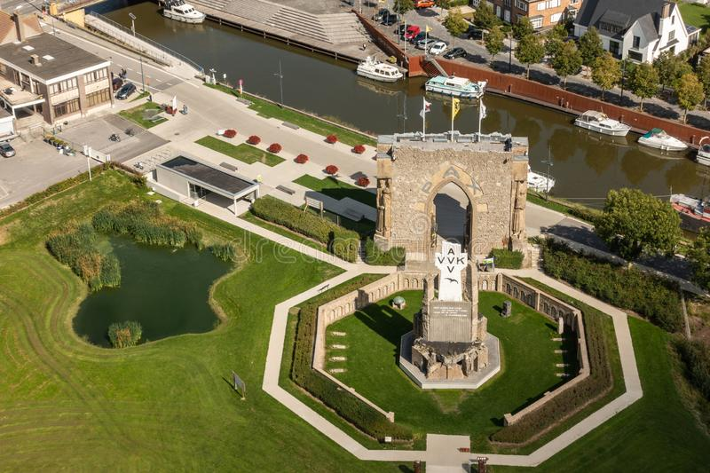 Aerial view on Pax Gate and crypt ruin at IJzertoren, Diksmuide royalty free stock photos