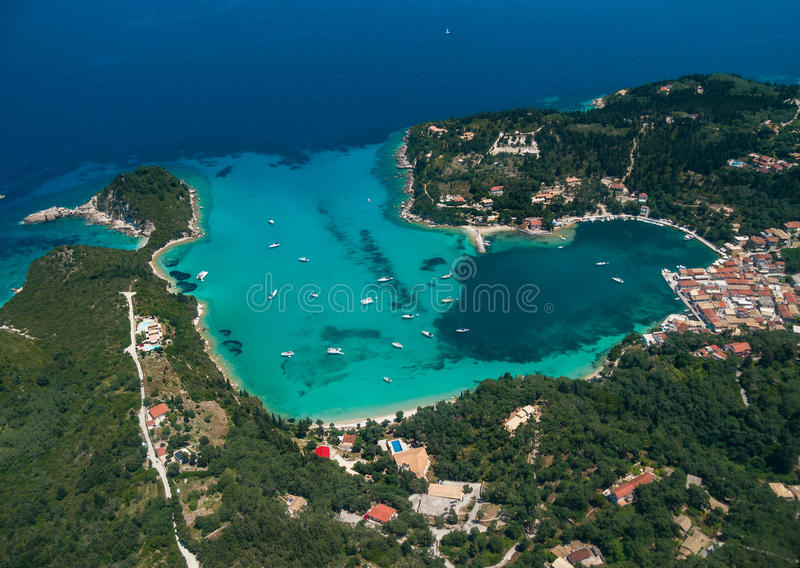 Aerial view of Paxos island royalty free stock photos