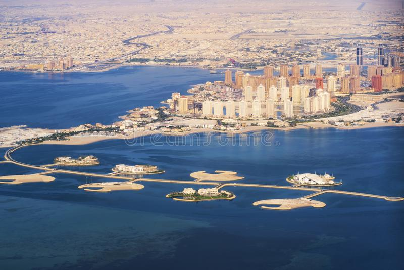 Aerial view of the Pearl-Qatar island in Doha . Qatar, the Persian Gulf. Persian Gulf stock photography