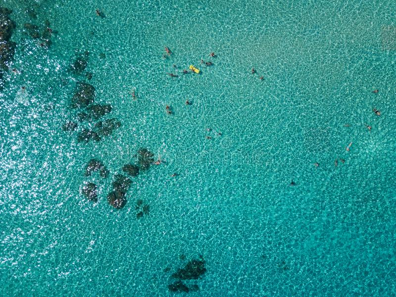 Aerial view of people swimming in the sea stock photos